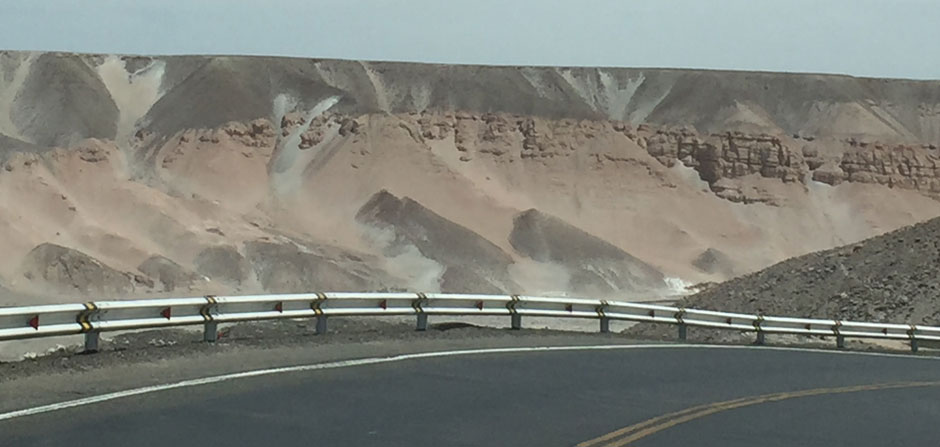sand down the rocky hills