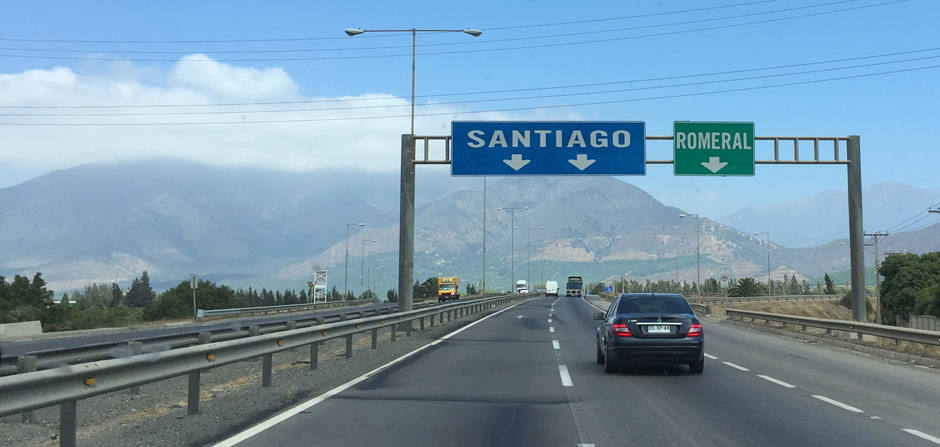 driving into Santiago